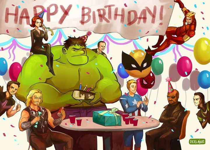 The Avengers agreed to come, but I was forced to buy more cake!(Hulk kind of ruined that one)
