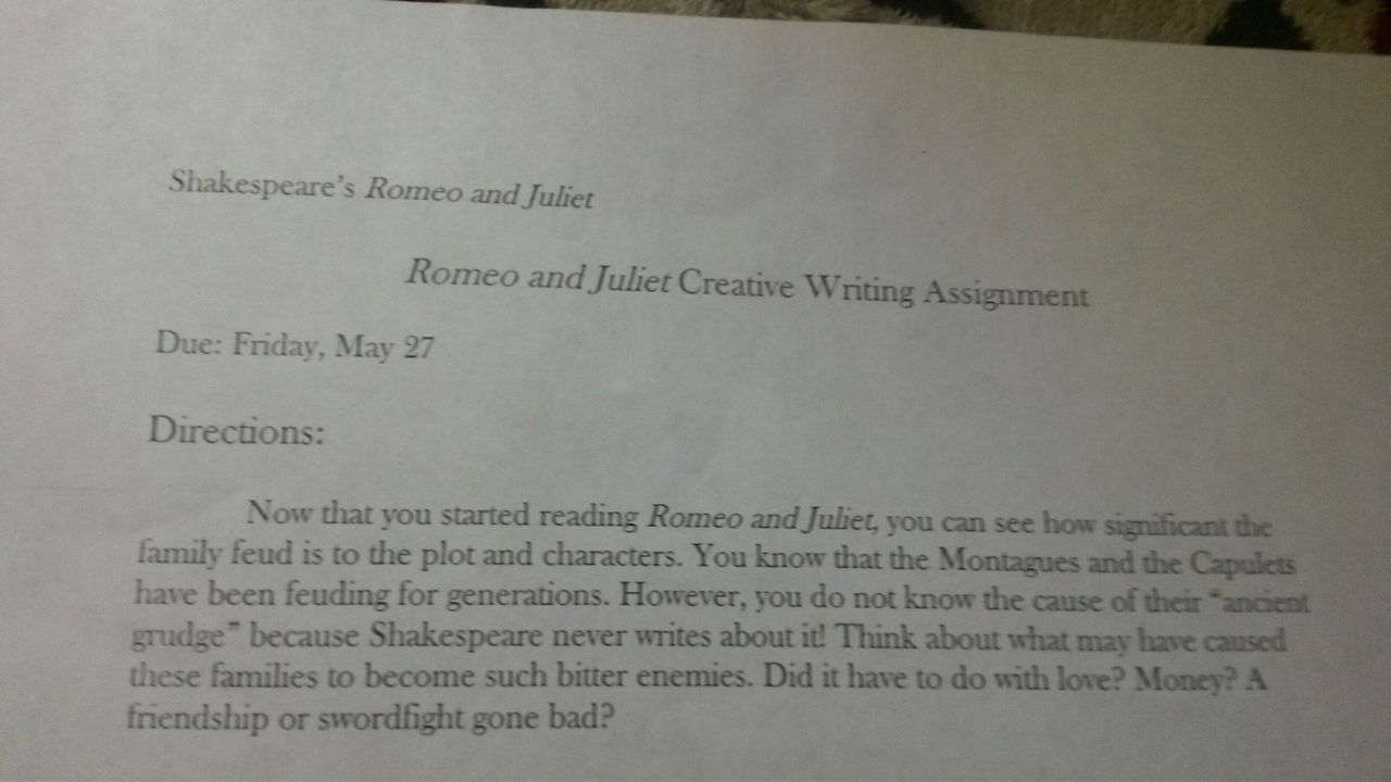 original papers   creative writing for romeo and juliet