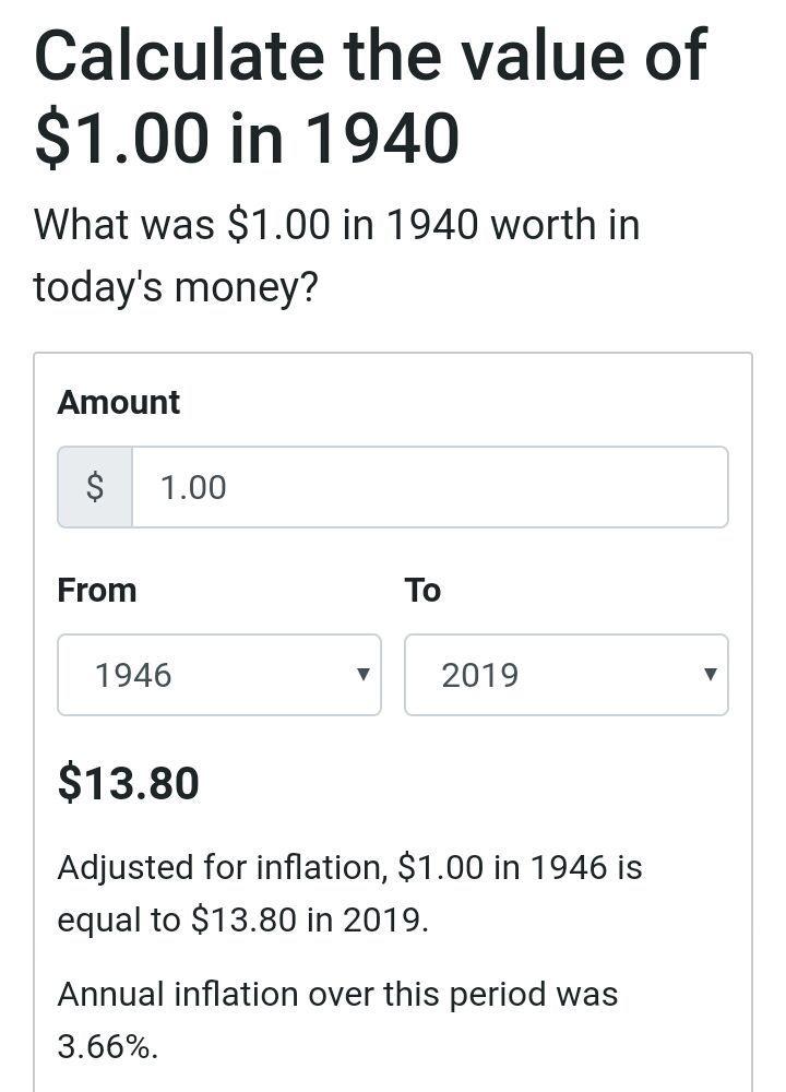 Aunando con lo anterior, el salario mínimo en 1946 era de 40 centavos de dólar, lo cual equivale a $5