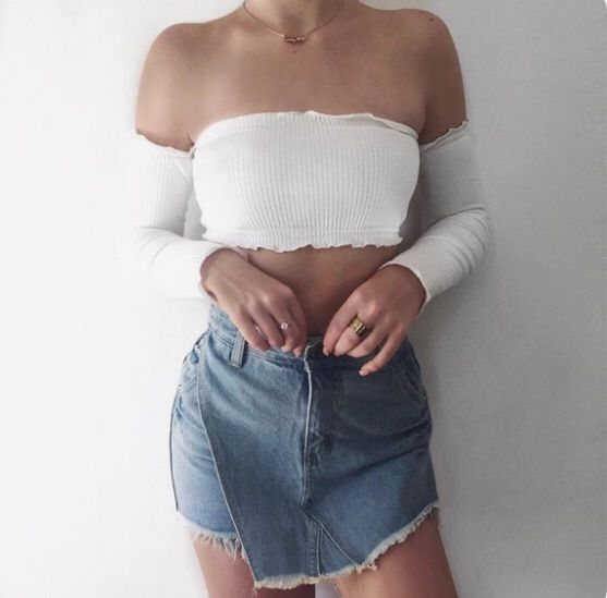 i then grabbed my white off-shoulder frilly crop top and put it on