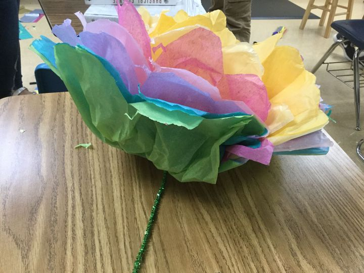 Untold stories my art 3 mexican tissue paper flower wattpad so in spanish class we made flowers out of tissue paper d mightylinksfo