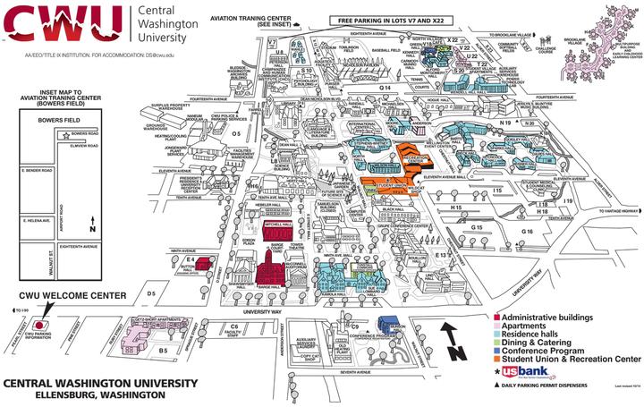 Na niebiesko zaznaczone są budynki, gdzie znajdują się pokoje dla studentów