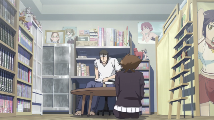 Issei and I sit at his small table while he brings us some tea