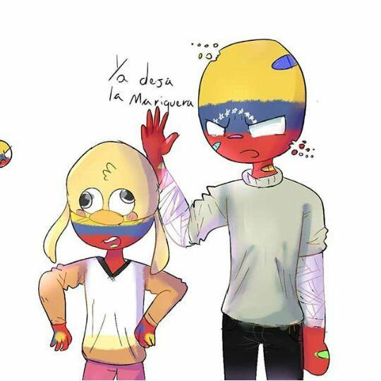 """(El qué está atrás es Colombia, por decirlo así protege al niño """"Ecuador"""" de su hermano mayor; Venezuela puede ser algo rudo a veces)"""