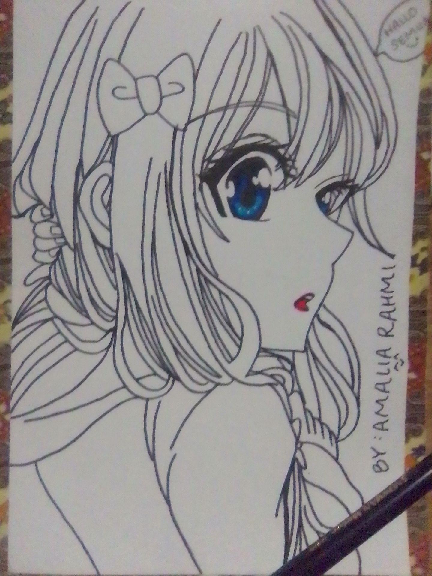 Hallo author comeback dengan membawa gambaran anime yang baru selesai oke gambaran anime author yang belum di beri warna