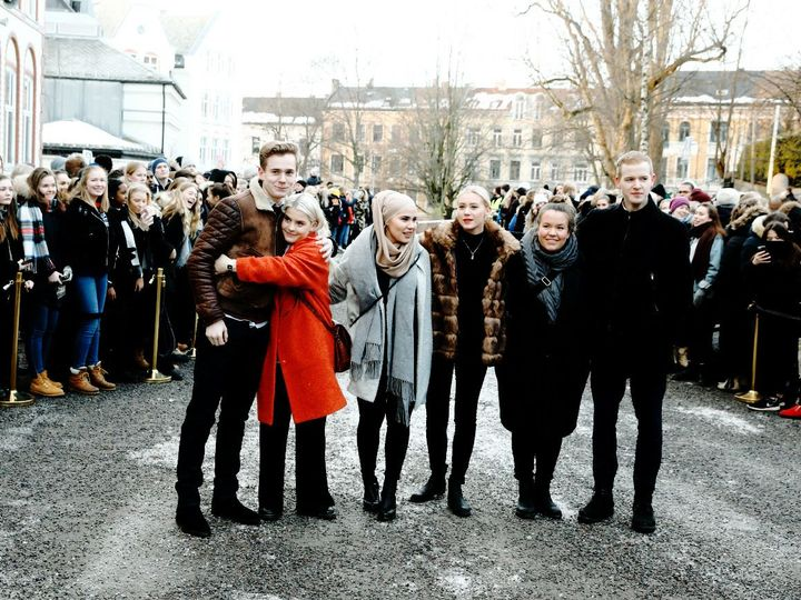 """Nicole, Princess of Avondale, Brianna, Duchess of Kendal, Crown Princess Mette-Marit and Crown Prince Haakon at Hartvig Nissen School, the location for the successful Norwegian television programme """"Skam"""" on day 4 of their royal tour"""