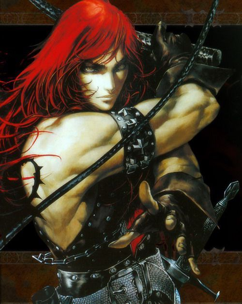 Simon Belmont from 'Castlevania' series by Ayami Kojima (by no means a perfect match) as Chevalier Rudra Ruatta