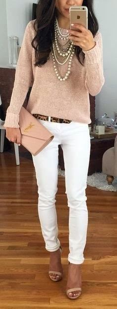Wearing a white jeans with pink soft sweater since it's a little bit chilly