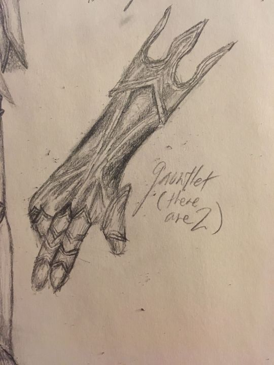 The gauntlet is a little too narrow at the arm part but shhh pretend it's bulkier for me, okay? It's 1AM rn and I need to get to sleep so I can try to finish writing in the morning