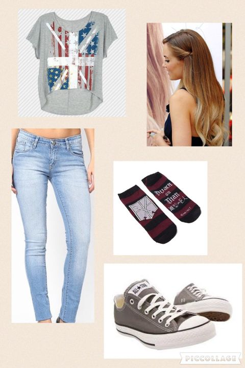 I got out a grey shirt with a hybrid of the British flag and the American flag (I really like Britain) some light blue jeans, AoT 'Wings of Freedom' socks, and I let my hair loose [that is her exact hair color]