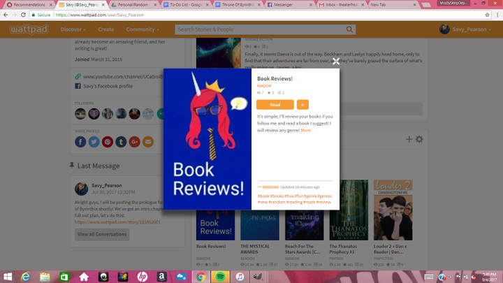 Guys, check outheythere300's book, Book Reviews!