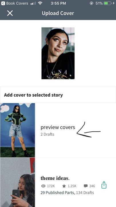 step eight: just click the story you want to upload it to