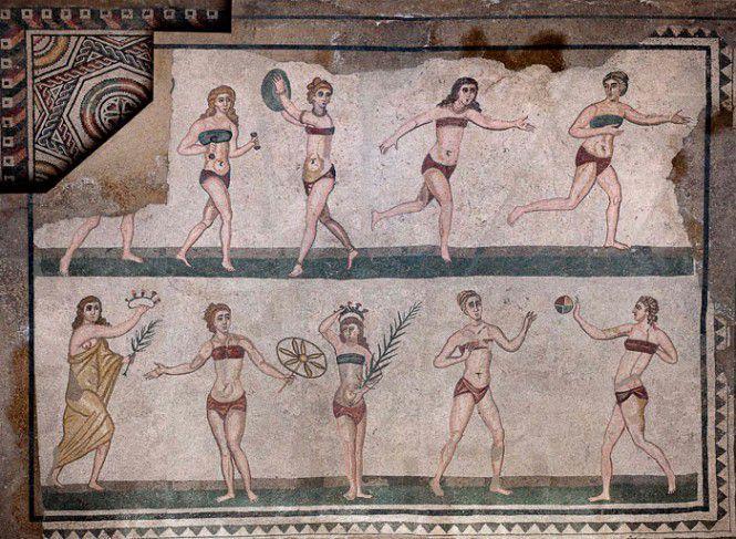 I mosaici di Piazza Armerina, le ragazze in bikini