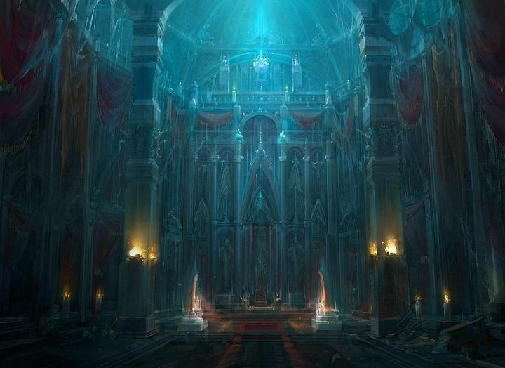 A figure is sitting on the throne room a tattered hood covered his face and dark orbs hovering around him, while an acolyte is bowing in front of him