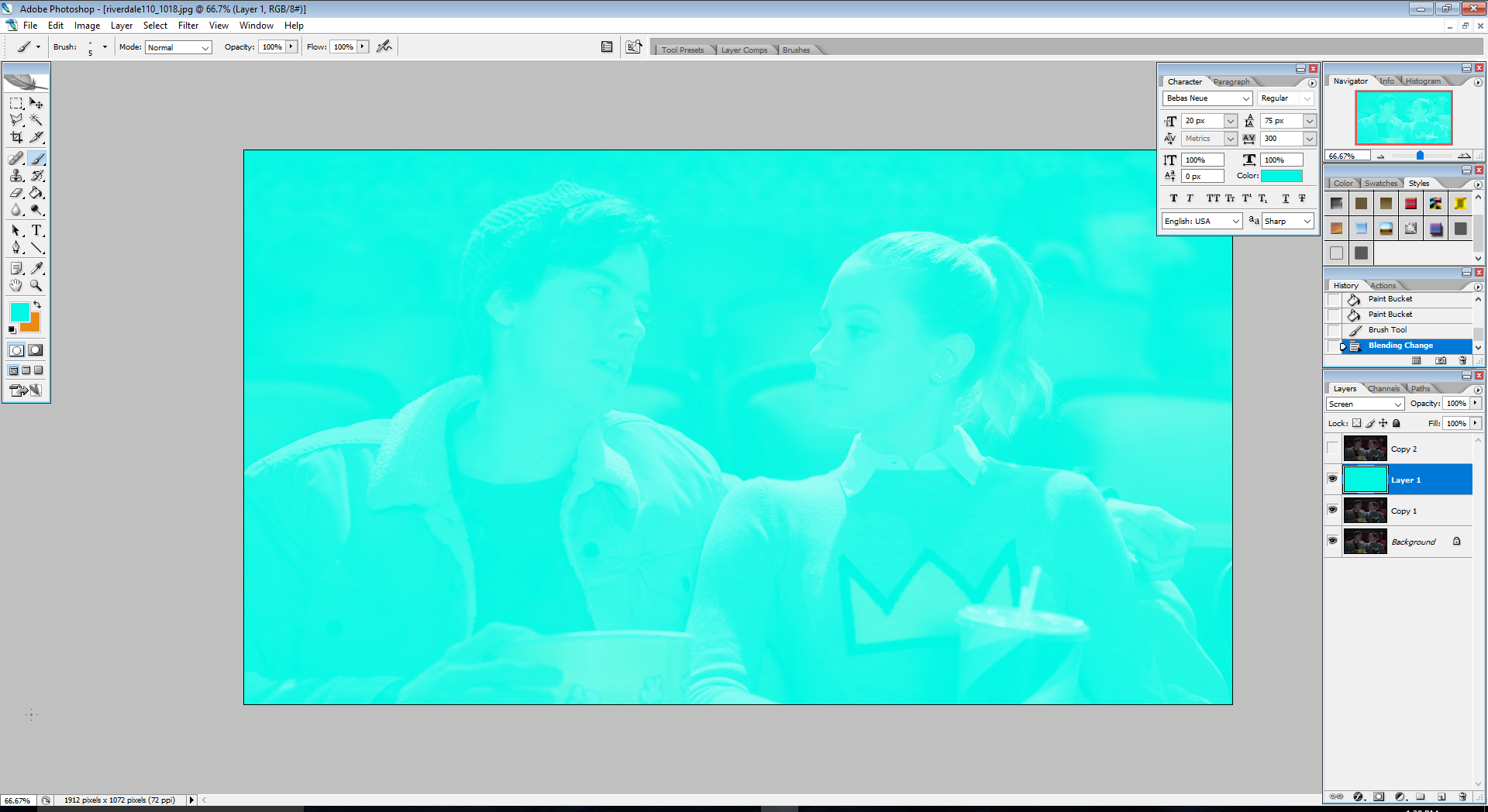 create a new layer above Copy 1; fill it with a neon blue (preferably #00f7e3); set the blending mode to ScreenCopy 2 is temporarily hidden in this image