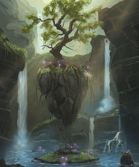 Finalmente, se abrió ante mí el brazo de un arroyo y lo seguí, hasta que llegué en medio de unos barrancos que custodiaban un árbol flotante con grandes raíces flotantes y volutas violetas (como mi aura) a su alrededor, por debajo, una pequeña isla