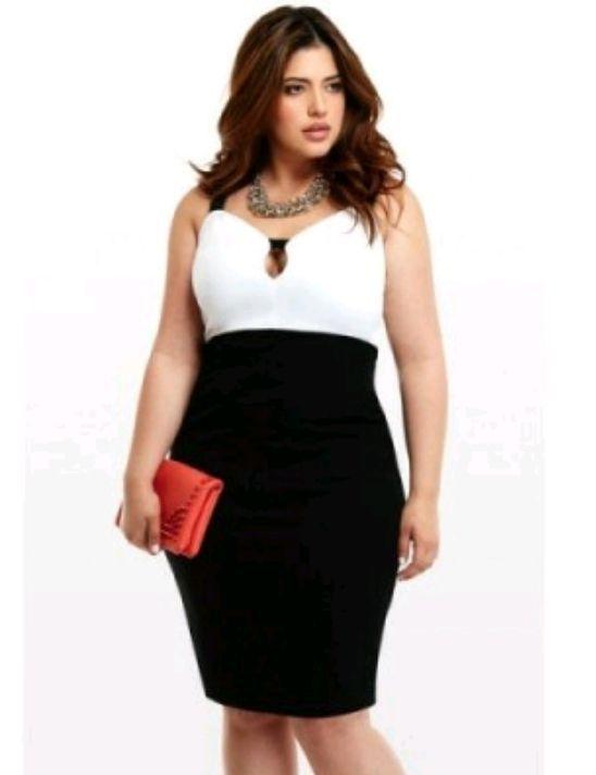 Llevaba puesto un vestido ajustado con la falda negra y escote corazón de color blanco con tirantes negros, a juego con un collar dorado y tacones negros