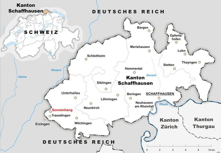 I've inserted this map to show the unusual bulge of the Swiss canton of Schaffhausen across to the north side of the Rhine River and how it is almost surrounded by Germany