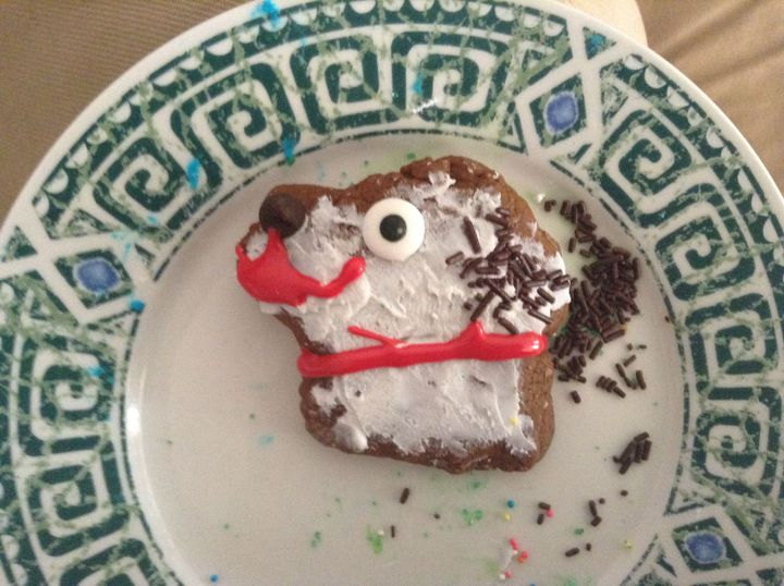 I custom molded some gingerbread cookie dough, and decorated it like my dog Luna