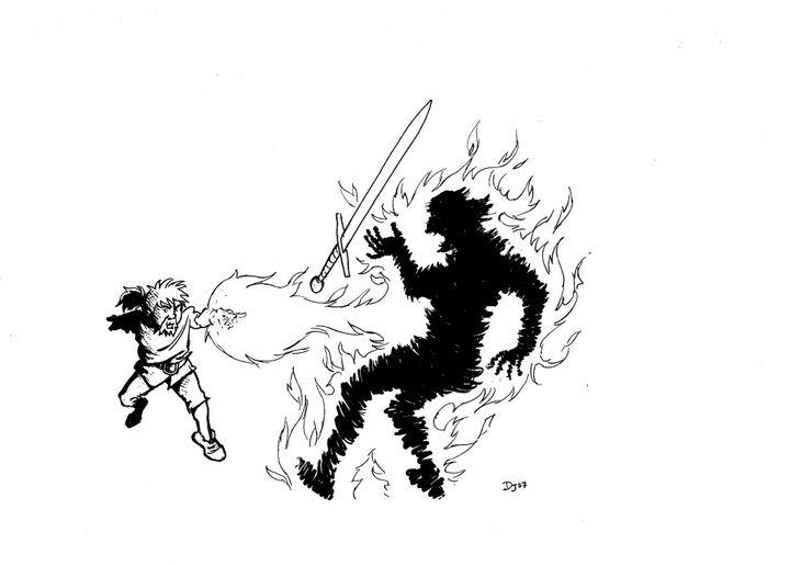 Bilevert fit jaillir du feu de ses doigts et le roi disparut instantanément, dans une fumée noire, désintégré