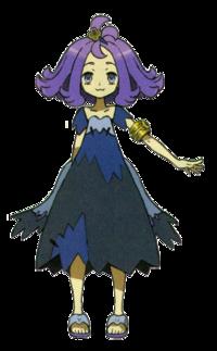 She had purple bushy hair and I dark purple dress that went down to her knees
