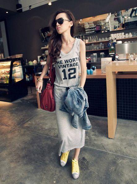 Длинное платье футболка с чем носить