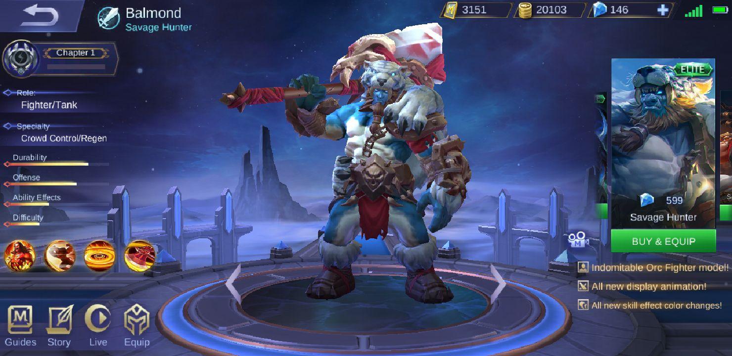 Mobile Legends Characters u0026 Skins - ☬Savage Hunter - Wattpad