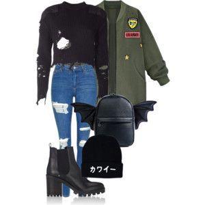Натянула чёрный рваный топ, синие рваные джинсы с завышенной талией, чёрные ботильоны, наверх болотную ветровку с яркими нашивками, чёрный портфельчик с крылышками демона и чёрную шапку с надписью на японском