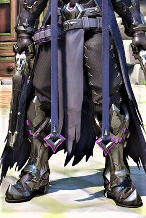 - Also, attached to his belt, he has a black piece of cloth that is a little ripped at the ends and it has purple outlines( this is how the cloth looks but replace the red parts from it with purple