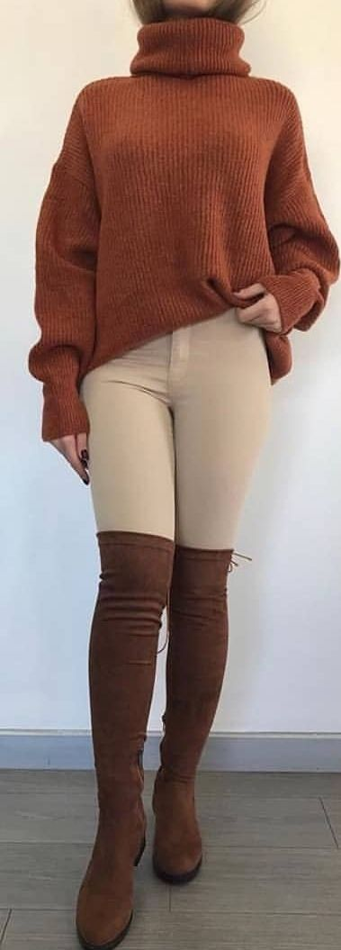 After a long hot shower I changed into tan jeggings, dark brown suede knee high boots, and an orange brown turtle neck knit sweater