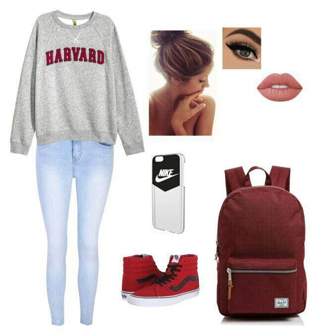 Saio do box e visto uma blusa de manga da Harvard (sim é realmente da Harvard minha mãe estudou la por 1 ano e eu peguei a blusa pra mim pois tem o cheiro dela),uma calça jeans clara e um vans cano alto vermelho