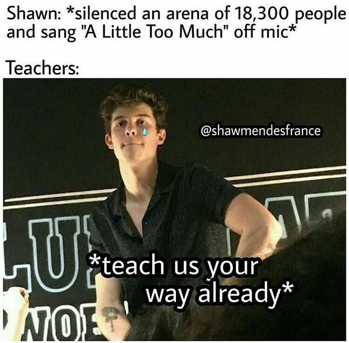 My teachers aren't actually like this, like my class would shut up but sometimes they'd keep talking, depending on the class and the people in it