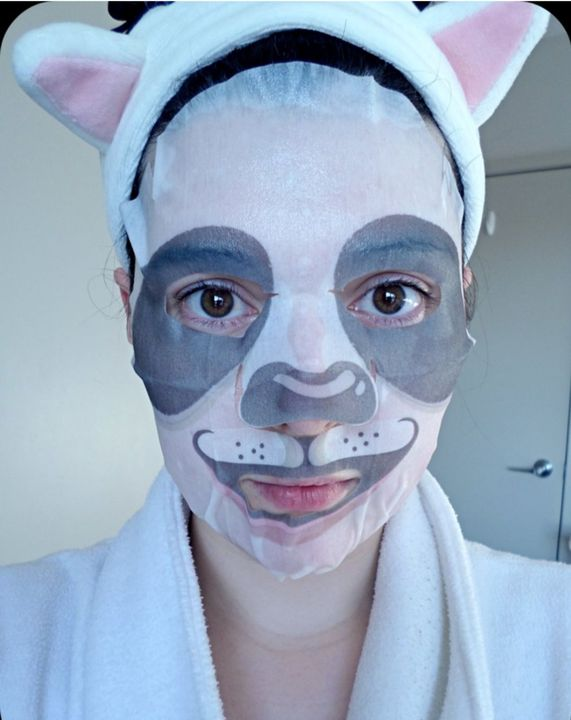 It was his sister, wearing her a weird mask for her skin care routine