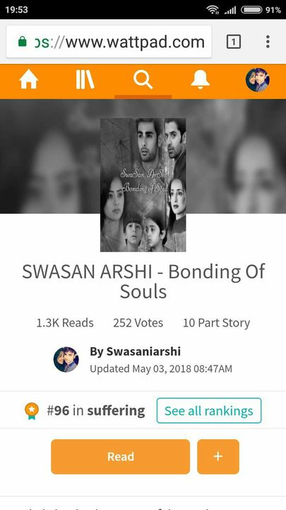 SWASAN ARSHI - Bonding Of Souls - STORY RANKINGS - Wattpad