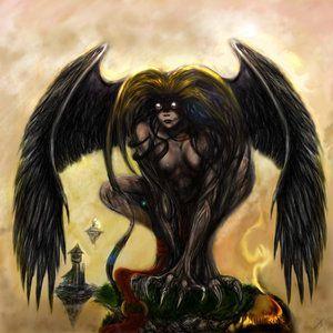 La parte inferior de su cuerpo y las alas son de buitre, y el torso y la cara de mujer, en concreto de una bruja