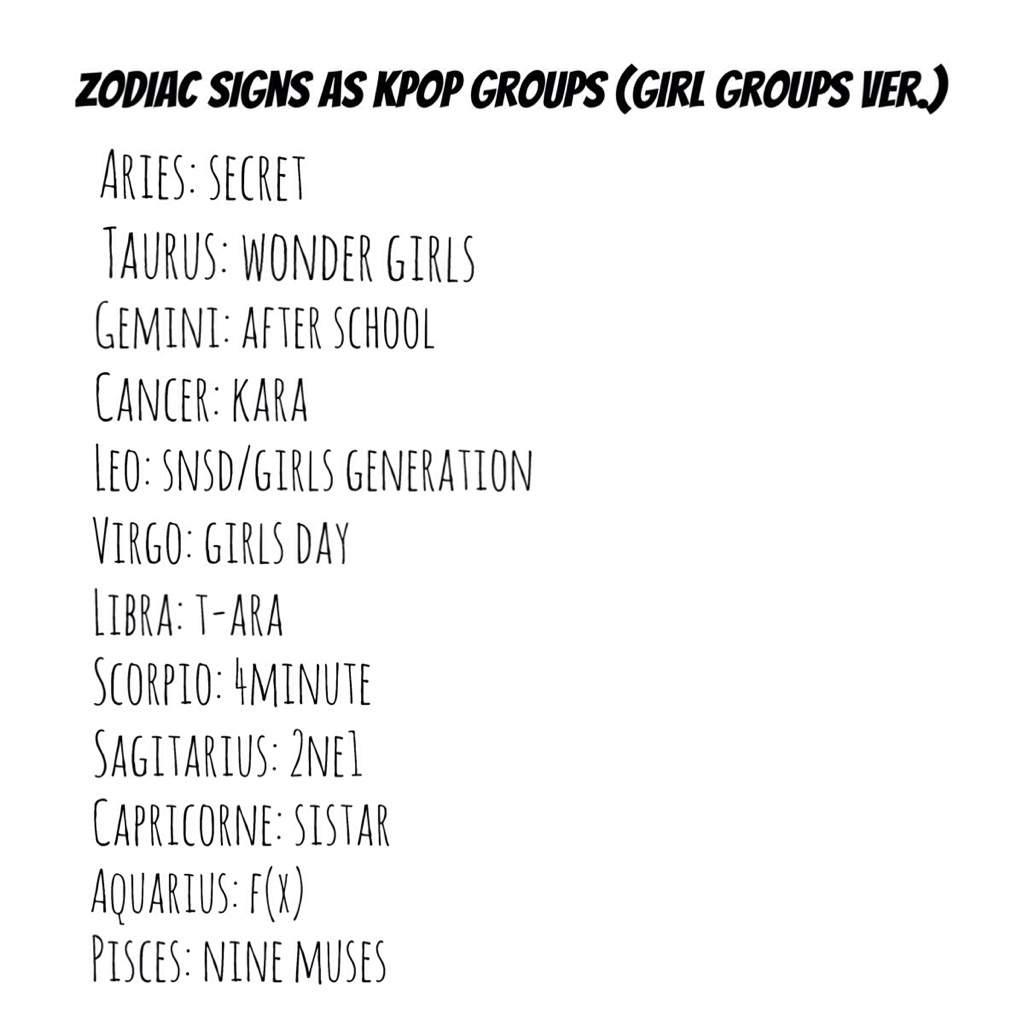 kpop zodiac ㅡ ♫ - Zodiac Signs As KPOP Groups (Girls Vers