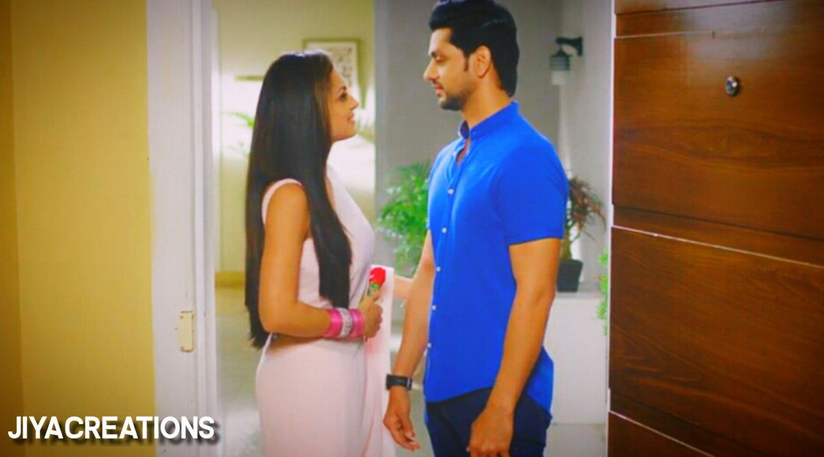With a shy smile on her face, Nandini took the rose from his hands and with a meek voice replied to him
