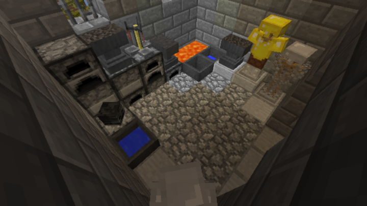 You can often use anvils, cauldrons, armor hangers and furnaces for interior decoration.