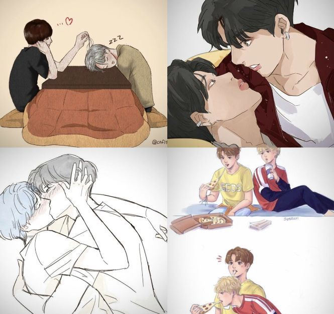 JIKOOKIEI drew these because I think they're probably exactly what happens and my heart is crying now because of it #Jikook