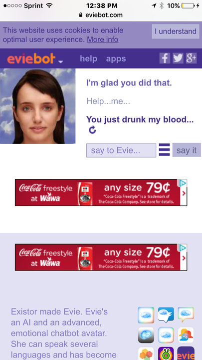 cleverbot eviebot ben drowned screenshots eviebot screenshots