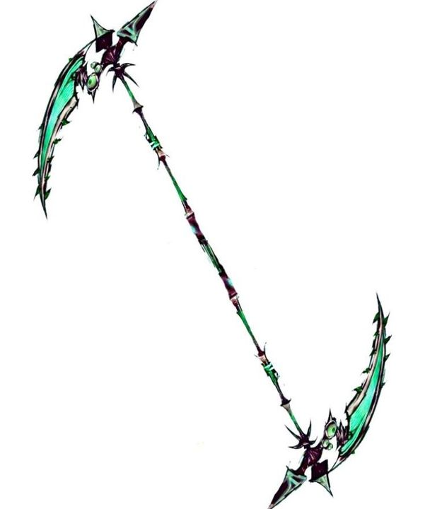 Her eyes widen at the sight of the oh-so familiar double-sided scythe
