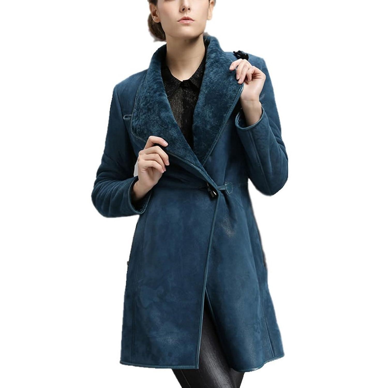 Sheepskin Coats for Women - Chicago Blue Shearling Leather Coat
