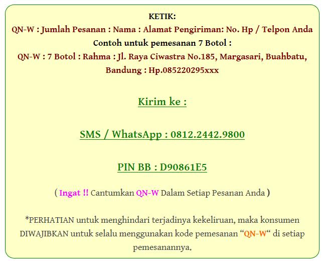 Format Pemesanan QnC Jelly Gamat melalui SMS / WA / BBM kepada Toko Satelit Herbal