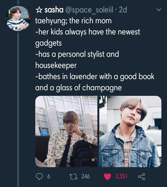 Kim Taehyung as The rich mom