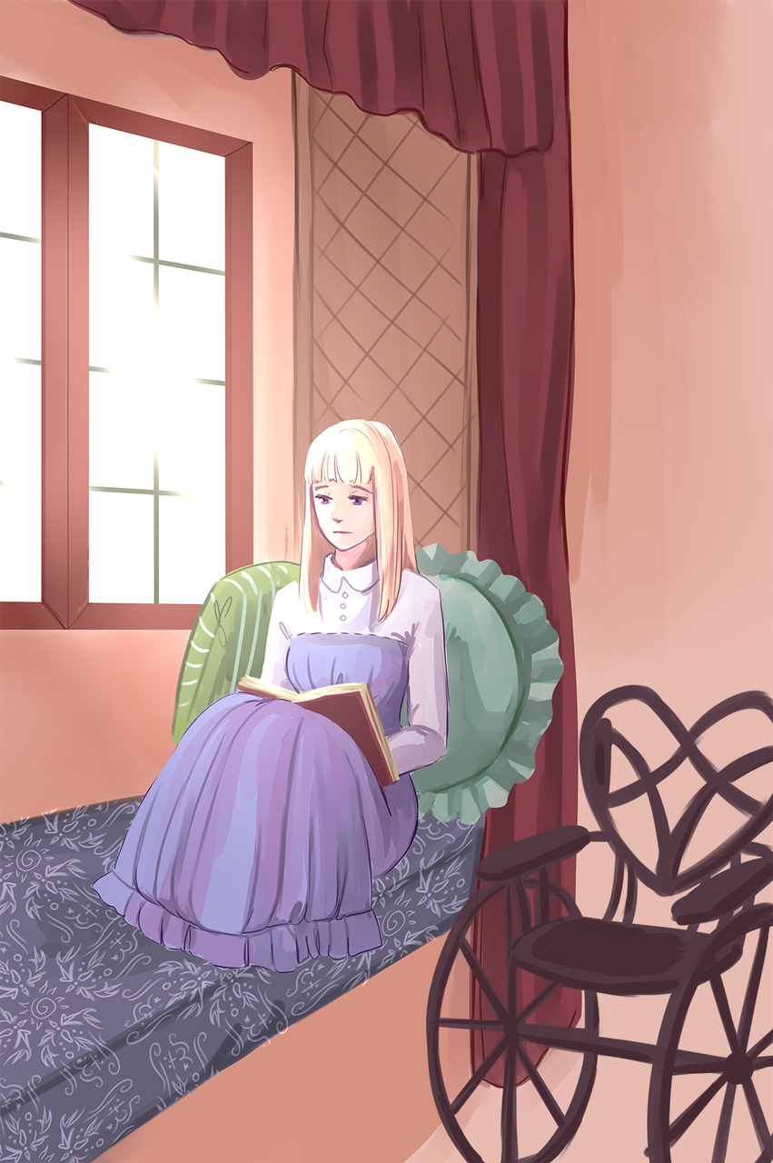 Entering the library, he recalls lecturing Eloise about reading under the window after her bedtime