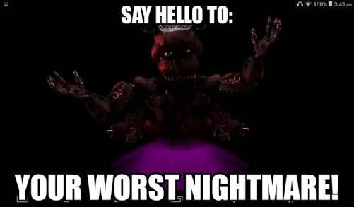 """""""Don't you mean silliest Nightmare?"""" NightFreddy (Nightmare Freddy) said just as a portal opened up and the ballerina animatronics dragged him into it, he screamed loudly"""