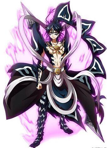 During his demonic form, he uses dark magic instead of light (Duh :V)