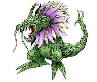 Su color fue verde, una pista de la naturaleza vegetal de la enorme criatura, solo los pétalos blancos y lilas que bordeaban su cuello eran diferentes