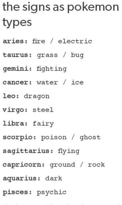 Anime Zodiac Signs! - The signs as Pokemon types - Wattpad