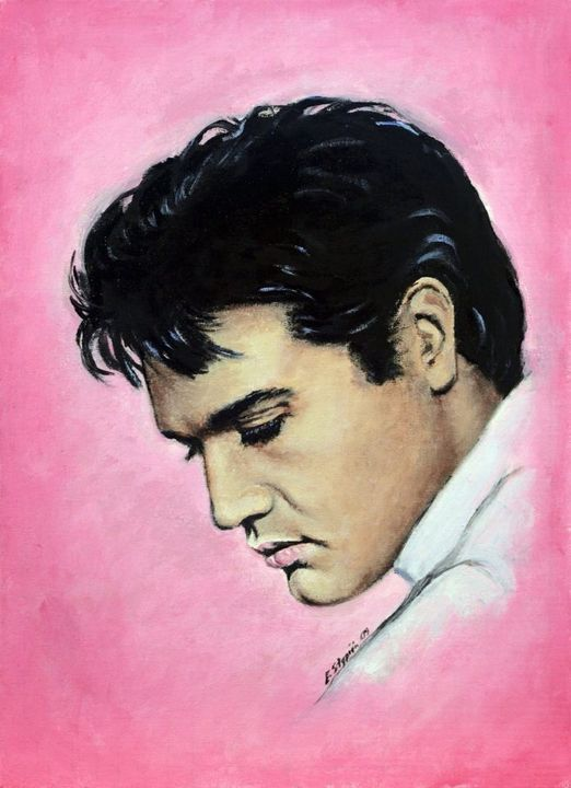 It's a portrait of Elvis, surrounded by a pink background, he said it was his favourite colour, so I thought it was appropriate